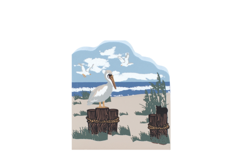 "Coastal Birds, pelican handcrafted by The Cat's Meow Village from 3/4"" thick wood."