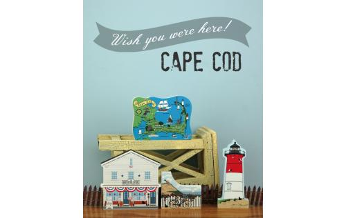 Map Of Cape Cod with Cape Cod buildings handcrafted in wood to decorate your home, by The Cat's Meow Village