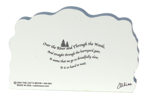 Back of Over The River And Through The Woods barnyard scene with a stanza of the song. Part of a handcrafted wooden 4 pc set to display in your home. By The Cat's Meow Village.