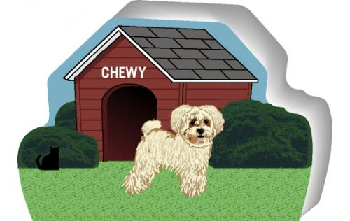 Cat's Meow Village handcrafted wooden shelf sitter of a Shih Poo you can personalize with your dog's name.