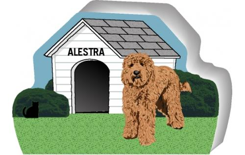 Cat's Meow Village handcrafted wooden shelf sitter of a Labradoodle you can personalize with your dog's name.