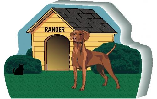 """Personalize this Vizsla dog house with your dog's name. We handcraft it in the USA from 3/4"""" thick wood. The Cat's Meow Village."""