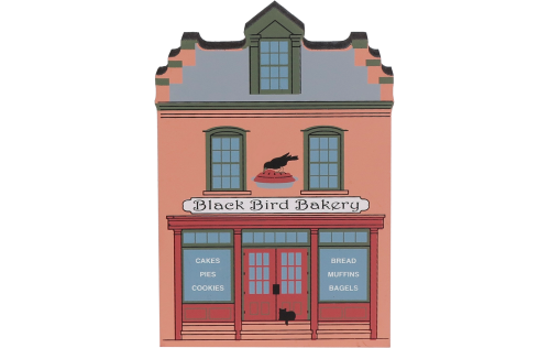 Decorate your home with a little wooden Village that reminds you of Black Bird Bakery. Handcrafted in wood by The Cat's Meow Village.