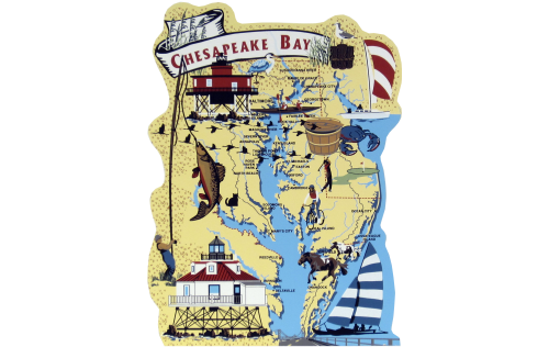 Chesapeake Bay Map, Chesapeake Bay, Atlantic Ocean, Ocean City, Maryland, estuary, Atlantic Migratory Bird Flyway, nautical, Delaware, Virginia, Baltimore