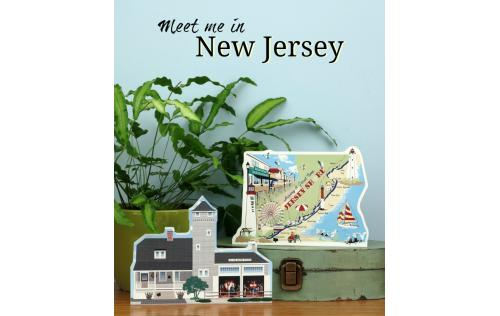 Bring the beach home with a Cat's Meow handcrafted wooden souvenir of the Tatham Life Saving Station and Jersey Shore Map