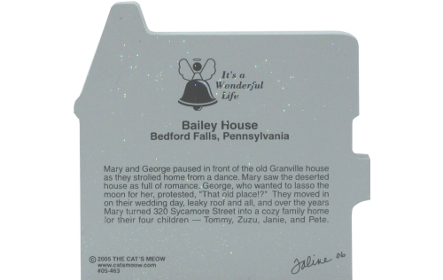 Back of It's A Wonderful Life - Bailey House, Bedford Falls, PA