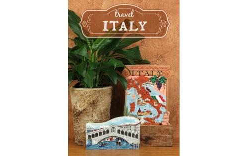 Wooden handcrafted keepsakes of Rialto Bridge and Italy Map created by The Cat's Meow Village