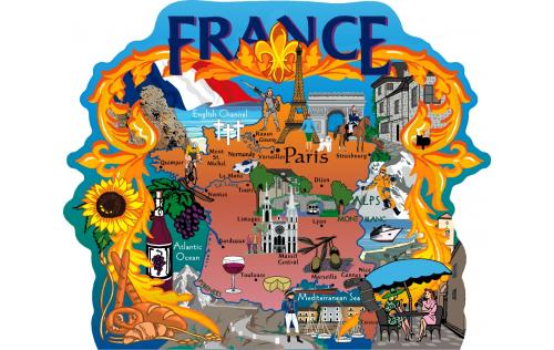 Map of France, France, Paris, Monet, Mediterranean, English Channel, Normandy, Marseille, Cannes, Nice