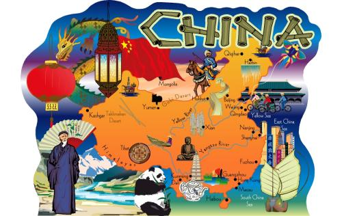 China, Map of China, Chinese Map, Beijing, Xian, Yangtze River, Yellow river, Shanghai, China Sea