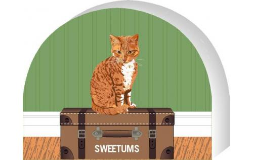 Cat's Meow shelf sitter of an Orange Tabby you can personalize with your cats name.