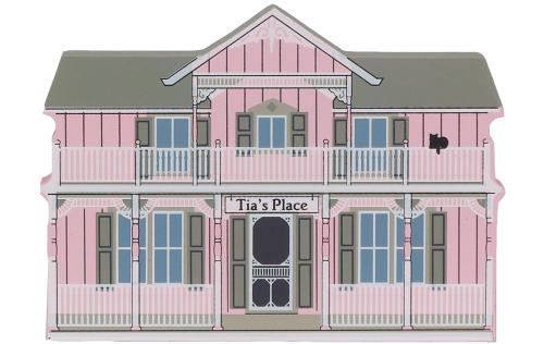 Remember your trip to Lakeside with a wooden keepsake of Tia's Place to decorate your home created by The Cat's Meow Village
