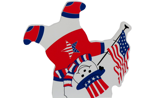 Cat's Meow Village handcrafted wooden shelf sitter of a Patriotic Snowman. Crafted from wood in the USA.