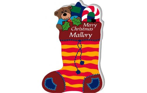Personalized Christmas Stocking handcrafted in wood to set on your shelf, by The Cat's Meow Village