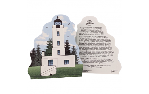 Front & Back of Cat's Meow Village handcrafted wooden replica of Five Finger Lighthouse, Alaska. Made in the USA.