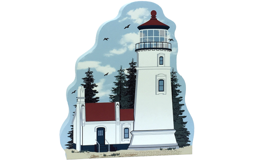 Cat's Meow Village handcrafted wooden replica of Umpqua River Lighthouse, Oregon. Made in the USA.