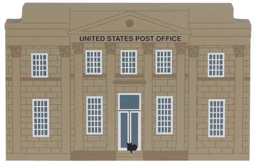"Vintage US Post Office from Series XI handcrafted from 3/4"" thick wood by The Cat's Meow Village in the USA"