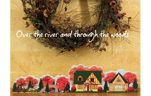 Bring the fall into your home with the wooden handcrafted Over The River 4-piece set by The Cat's Meow Village