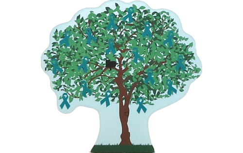 Cat's Meow Village 2015 Ovarian Cancer Awareness Charity Tree