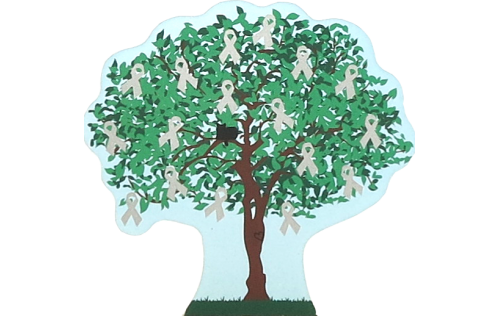 Cat's Meow Village 2015 Brain Cancer Awareness Charity Tree