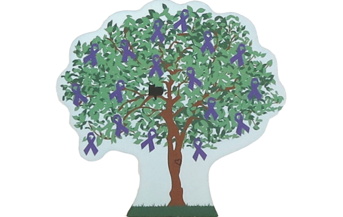 Cat's Meow Crohn's Disease Tree decorated with Purple Awareness ribbons