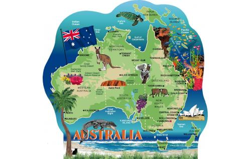 Cat's Meow wooden rendition of Australia showing major cities and features of this island-continent