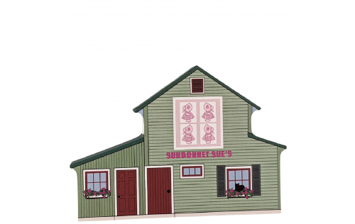 Cat's Meow Sunbonnet Sue Quilt Cottage, Handcrafted by Cat's Meow Village in the USA.
