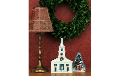 Decorate your home with a little wooden Village for Christmas. Center Meetinghouse in Old Sturbridge Village is handcrafted in wood by The Cat's Meow Village.
