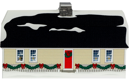Wooden handcrafted Cat's Meow keepsake of the Fitch House in Old Sturbridge Village, Massachusetts