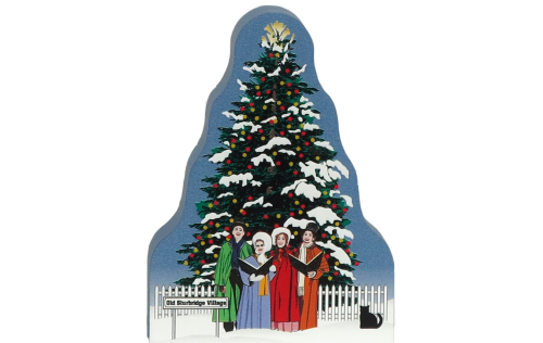 Wooden handcrafted Cat's Meow keepsake of the Christmas Tree & Carolers in Old Sturbridge Village, Massachusetts