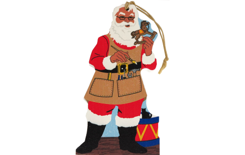 Cat's Meow Santa In The Workshop handcrafted wooden ornament.