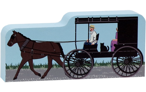 """Amish buggy handcrafted in 3/4"""" thick wood by The Cat's Meow Village"""