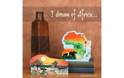 "Handcrafted 3/4"" thick wooden scenes of Africa for your home decor. Remember that special trip! Crafted by The Cat's Meow Village in Wooster, Ohio."