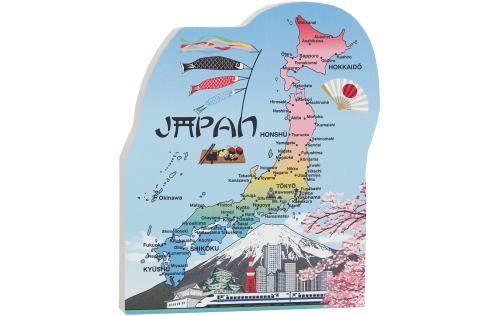 "Handcrafted wooden map of Japan from 3/4"" thick wood to add to your home decor"