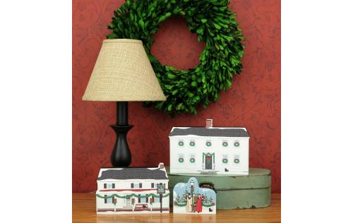 Arrangement of Mystic Seaport Cat's Meow keepsakes, including the Buckingham-Hall House, handcrafted in the USA.