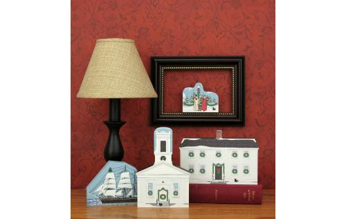 Home display of a few of the Mystic Seaport Christmas Collection, by the Cat's Meow Village.