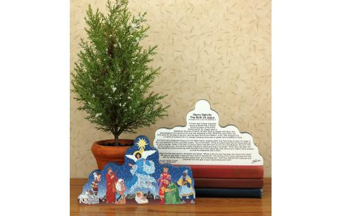 "Cat's Meow Village Starry Nativity handcrafted in the USA from 3/4"" thick wood for your Christmas decorating."