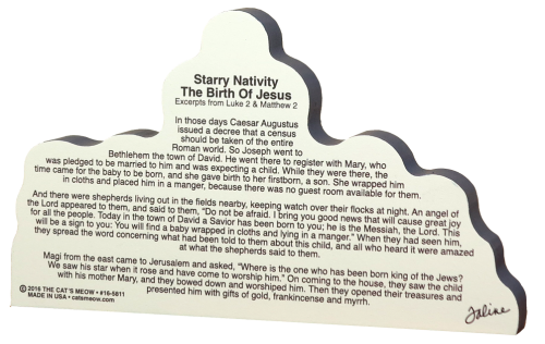 Back of Starry Nativity showing the Christmas story from the Bible.