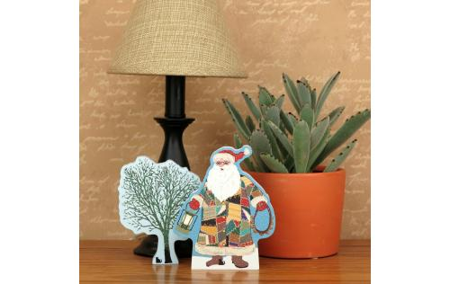 Example of a home display, Quilted Santa with our Winter Ice Tree perks up a corner in your home.