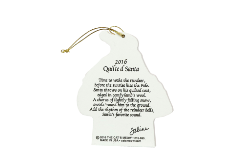 Back of our wooden Quilted Santa ornament, handcrafted in the USA by The Cat's Meow Village