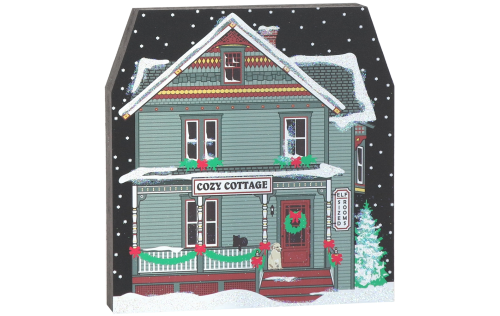 "Wooden 3/4"" thick shelf sitter of Cozy Cottage for your seasonal decor handcrafted in the USA by The Cat's Meow Village"