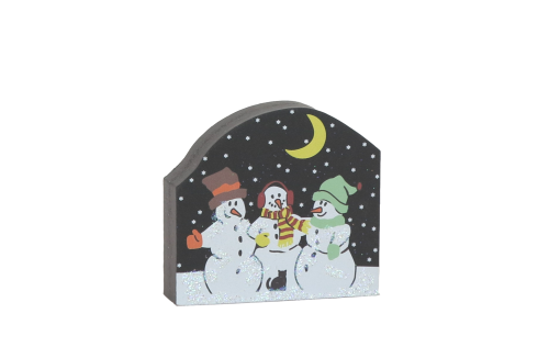 "Small Trio Of Snowmen handcrafted in 3/4"" thick wood to accessorize your North Pole Village. By The Cat's Meow Village"
