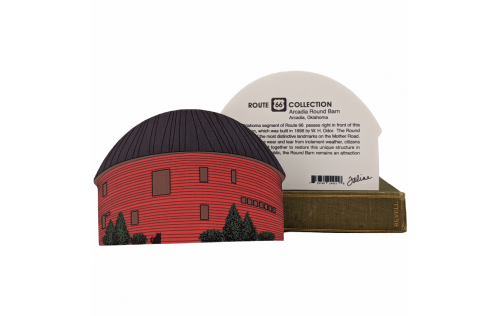 """Front & Back of Famous Route 66 Arcadia, Oklahoma Round Barn handcrafted in 3/4"""" thick wood by The Cat's Meow Village. Handmade in the USA."""