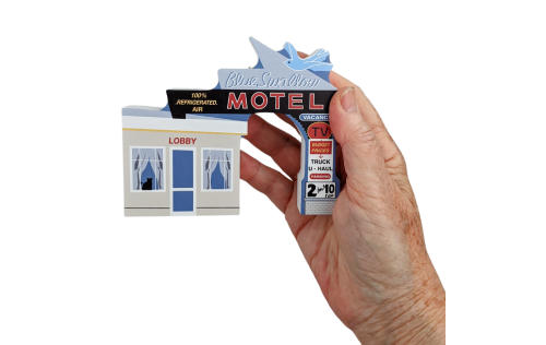 """Souvenir replica of the Blue Swallow Motel in Tucumcari, New Mexico. Handcrafted in 3/4"""" thick wood by The Cat's Meow Village in the USA."""