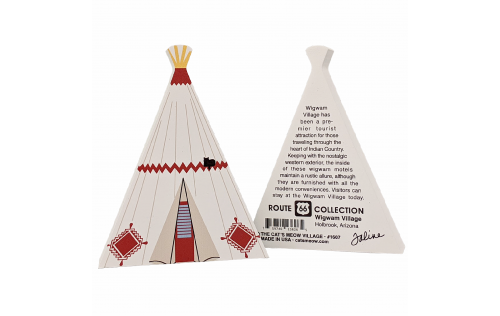 Front & Back of Wigwam Village Motel wooden replica to your home decor to remember the night you spent in a tipi! Handcrafted in the USA by The Cat's Meow Village.