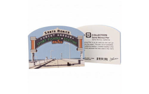 Front & Back of Wooden replica of Santa Monica Pier at the end of Route 66 in Santa Monica, California. Handcrafted in the USA by The Cat's Meow Village.