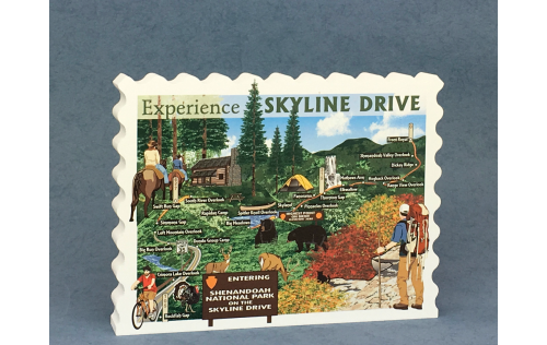 Remember your Skyline Drive experience with this wooden handcrafted vintage postcard style scene highlighting unique features along the Drive. Made in the USA in our workshop in Wooster, Ohio.