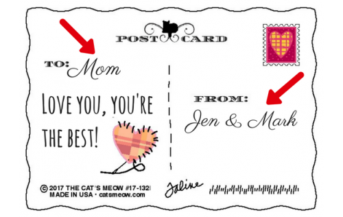 Preprinted personalization on the back, you add the To: and From: names