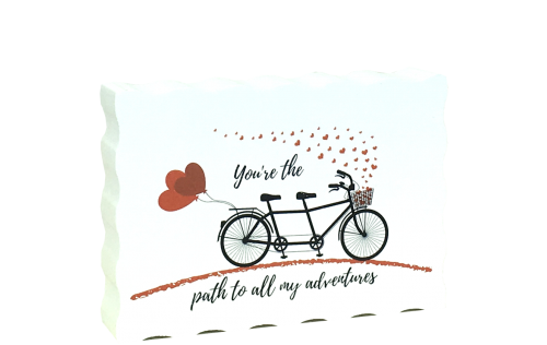 You're the path to all my adventures, Bicycle Valentine handcrafted by The Cat's Meow Village. You personalize the back!
