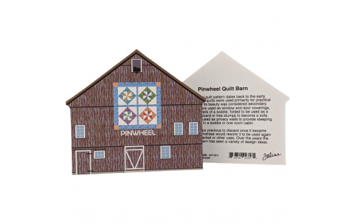 Front & Back of Pinwheel Quilt Barn handcrafted by The Cat's Meow Village and made in the USA.