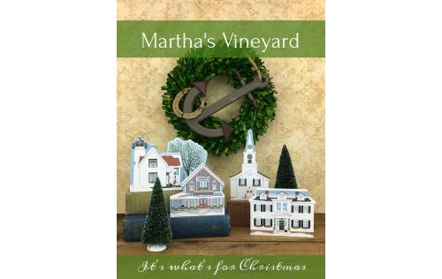 Add this little wooden house village representing Christmastime on Martha's Vineyard to your holiday decor. Handcrafted by The Cat's Meow Village in the USA.
